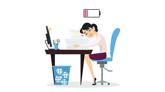 Tired person at desk