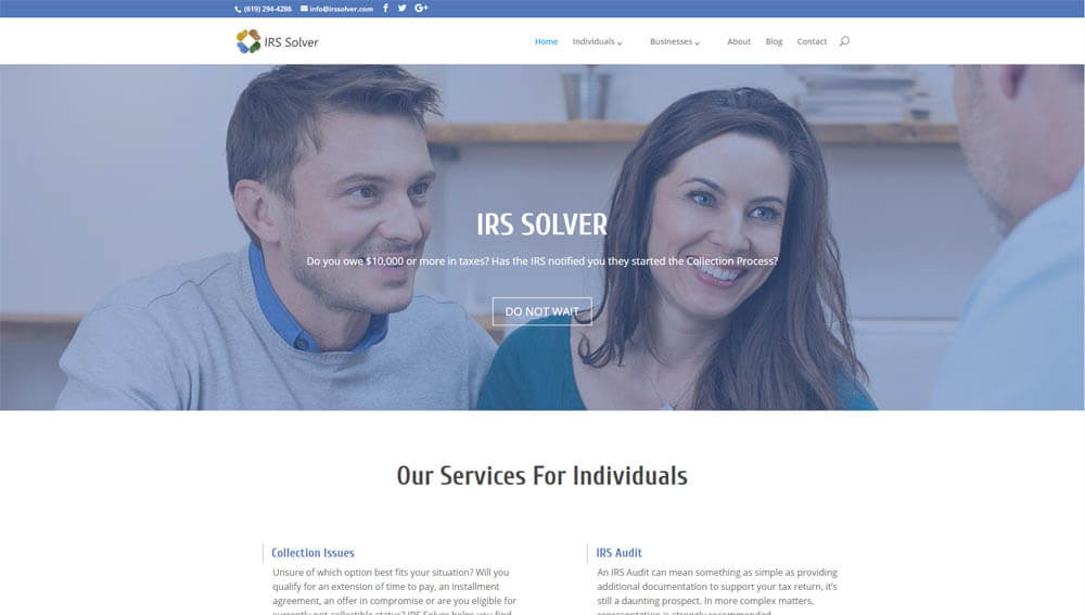 IRS Solver   Website Project   CNG Digital Marketing
