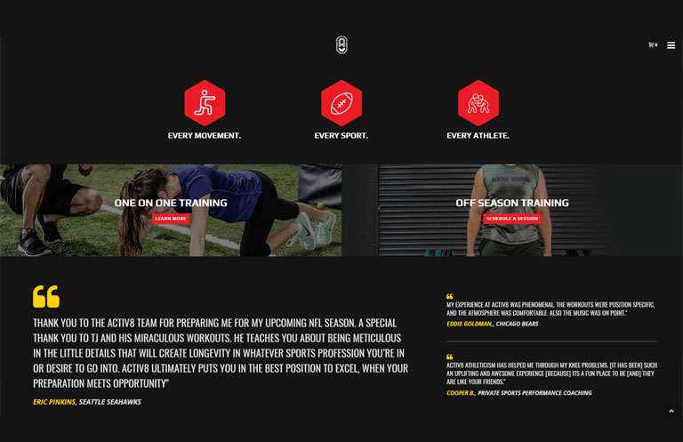 Website design for athletic performance center