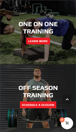 website design on mobile for athletic training center