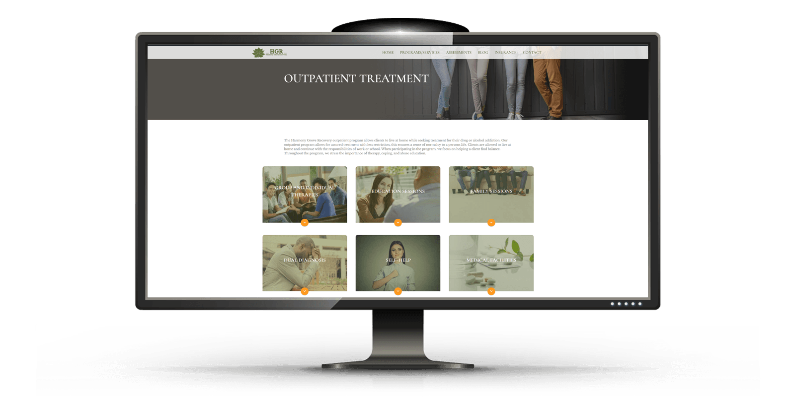 website design for patient treatment center on desktop