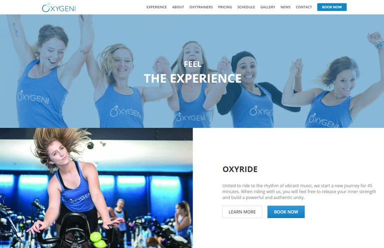 Oxygen studio website design on desktop