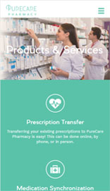 website design on mobile for pharmacy
