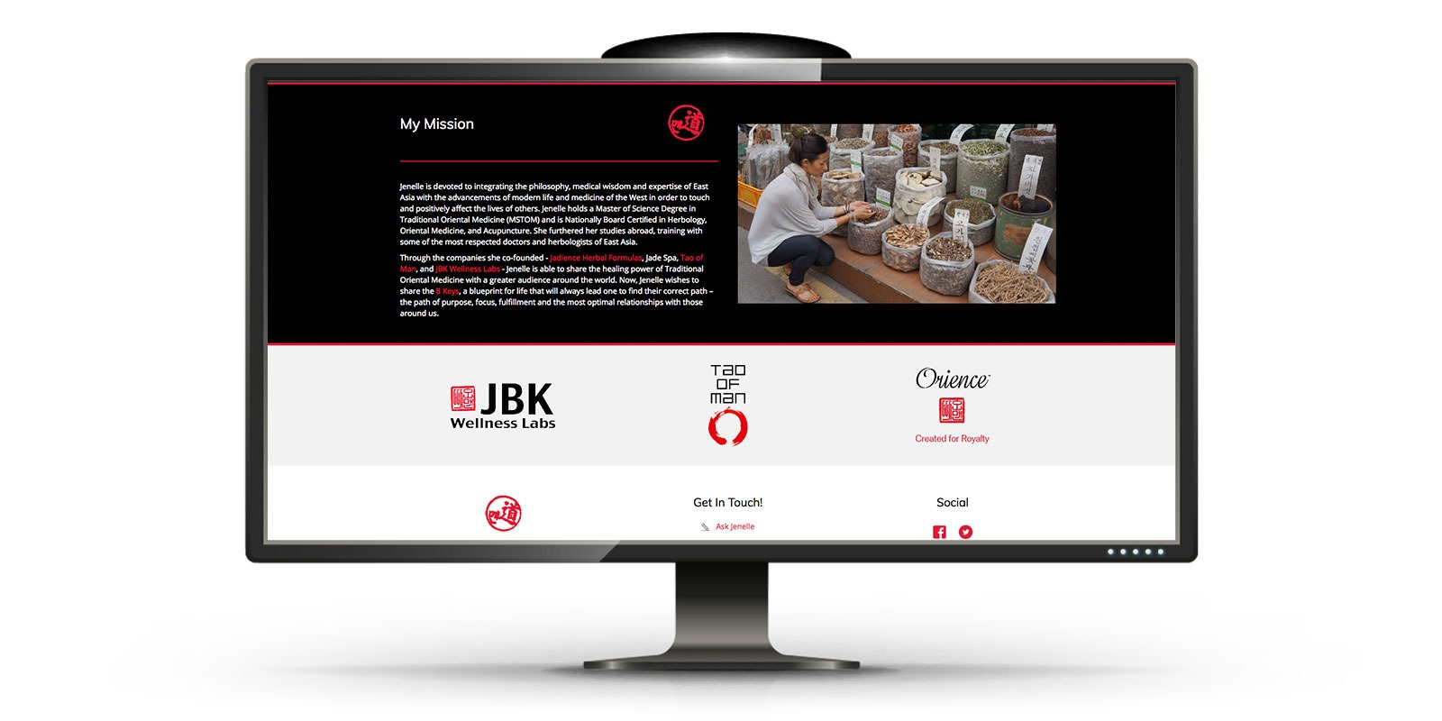 website design for business JBK wellness Kim on desktop