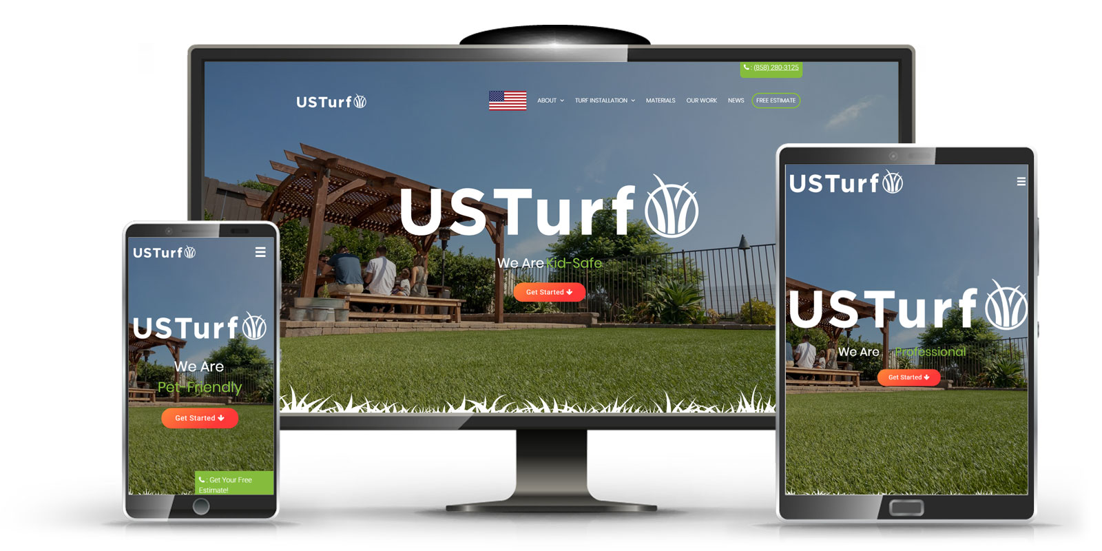 website design for local business US Turf San Diego